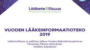 Vuoden lääkeinformaatioteko -kilpailu on avattu